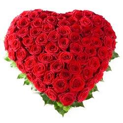 Awe-Inspiring 50 Heart Shaped Roses Arrangement