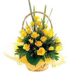 Divine Presentation of Yellow Roses in a Basket