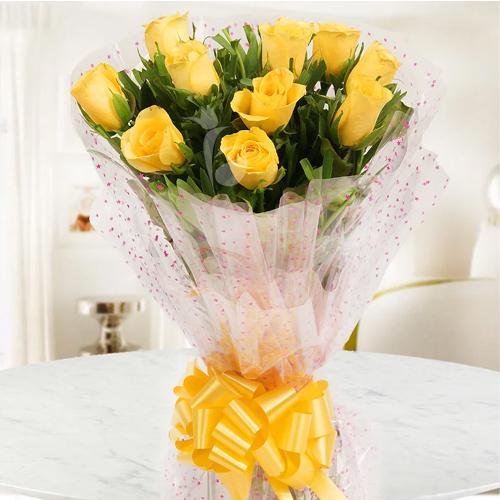 Unique Royal Treatment Ten Yellow Roses Bouquet