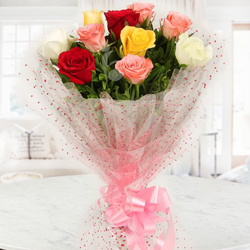 Blooming Heartfelt Celebration with Mixed Roses