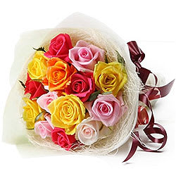 Magnificent Gift of Twelve Multi-hued Roses Bunch