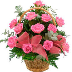Artful Heartily Expressions of Pink Roses in Basket