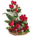 Bright 25 Dutch Red Roses Surprise Basket