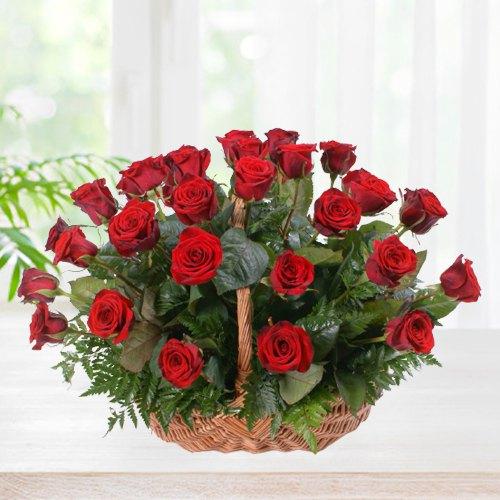 Radiant Presentation of Red Roses in a Basket