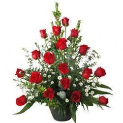 Sophisticated Basket of 18 Red Colourful Roses