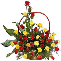 Beautiful Arrangement of Red N Yellow Coloured Roses