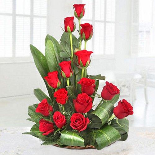 Stunning Fifteen Red Coloured Roses Premium Arrangement