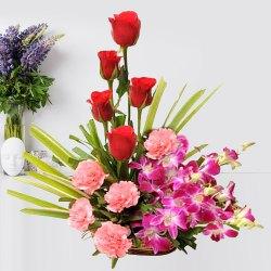 Attractive Carnival of Mixed Flowers Premium Arrangement