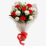 Sauve Bouquet of 12 Red n White Carnations