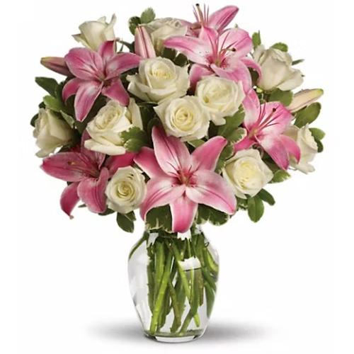 Striking Glass Vase display of White Roses N Pink Lilies