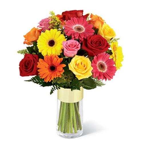 Enigmatic Gerberas N Roses display in a Glass Vase
