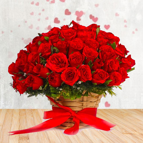 Wonderful Red Roses Bunch with Filler Flowers