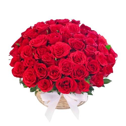 Captivating Red Roses Basket