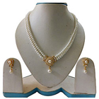 Classy White Pearl Set with Single Drop Pendant and Earrings
