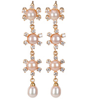 Extravagant 3 Flower Chain of Pearl Eardrops Ornamented with AD Stones