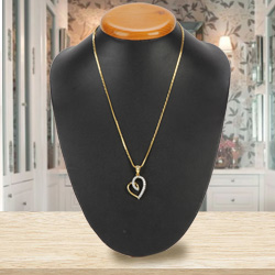 Caressed-by-Amour Gold Heart Pendant with Chain