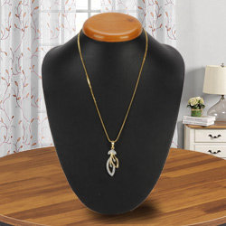 Stunning Allure Gold Plated Necklace with Tranquil Leaf Pendant