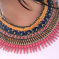 Pretty Selection of Cotton Braided Necklace with Embroidered Pendent