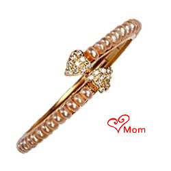 Trendy Forever in Love Pearl Bangles with Heart(1 Row)