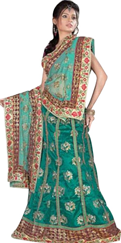 Exclusive Peach and Turquoise Silk Lehenga