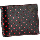 Classically crafted Black Genuine Leather Wallet with Red Circles from Leather Talks