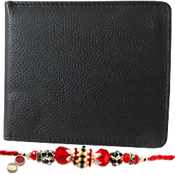 Rich Born's Choice Potency Gents Leather Wallet with 1 Free Rakhi, Roli Tilak and Chawal