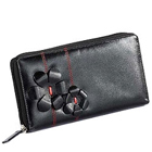 Flowery styled Genuine Leather ladies Wallet in Black from Leather Talks