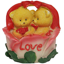 Luscious Twin Teddy with Roses in a Love Basket
