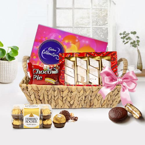 Scrumptious Basket Including Chocolates Gift Hamper for Special Day