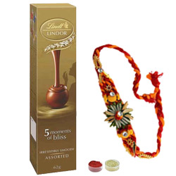 Attractive Rakhi Along With Lindor Chocolate