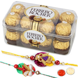 Beautiful Swastik Rakhi With Ferrero Rochers