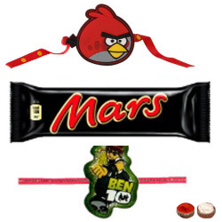 Lovable Angry Bird Kid Rakhi, Ben10 Kids Rakhi And Mars Chocolate