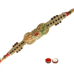 Eye-Catching One Multicolour Stone Rakhi