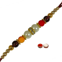 Rocking One Rakhi Designed with Big and Small Beads