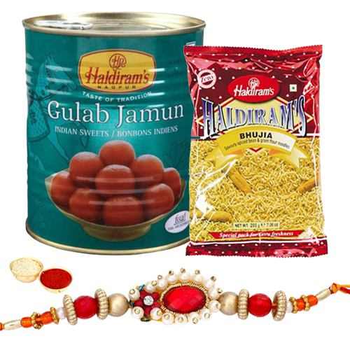 Rakhi with Gulab Jamun and Bhujia