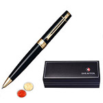Captivating Gloss Black Gold Tone Trim Ball Point Pen From Sheaffer with free Roli Tilak and Chawal