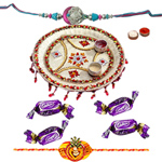 Decorated Pooja Thali with Free Nice Rakhi and Chocolates along with Roli Tilak and Chawal