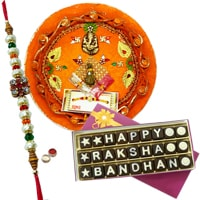 Smashing Gift of Innovative Thali and a Pack of Satisfying Rakshabandhan Chocolates