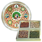 Subh Labh Stainless Steel Thali with Dry Fruits for Sister.
