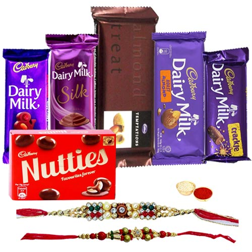 Cadbury Diary Milk Silk, Cadbury Diary Milk Roast Almonds, Cadbury Diary Milk Fruits & Nuts, Cadbury Diary Milk Crackle, Cadbury Temptation with Rakhi.