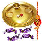 Special Gold Plated Thali with Eclairs Chocolates and 1 Free Rakhi with Roli Chawal