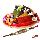 Irresistible Chocolate Gift Basket with Pearl Rakhi