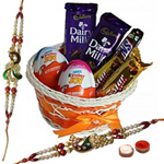 Refreshing Chocolate Gift Hamper with Peacock Shaped Rakhi