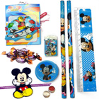Fabulous Mickey Mouse Stationery Set with Cadbury Eclairs Toffee nd a Mickey Mouse Rakhi