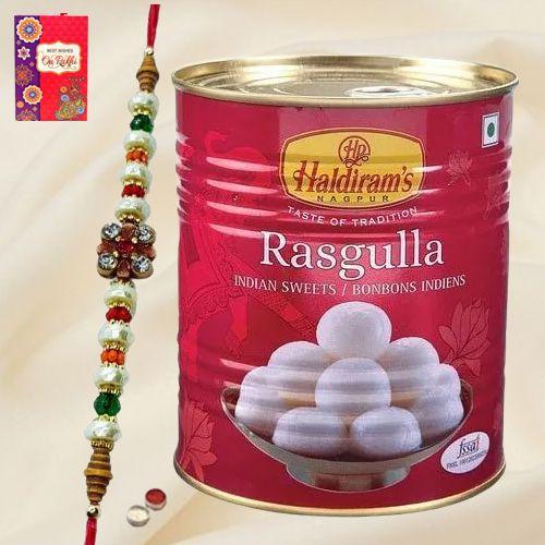 Haldiram Rasgulla nd Designer Rakhi