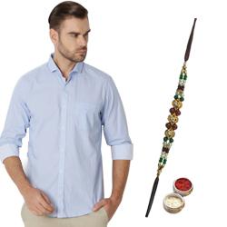 Light-Blue Peter England Shirt and Rakhi Duo