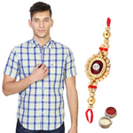 White and Blue Casual Peter England Shirt and Rakhi Combo