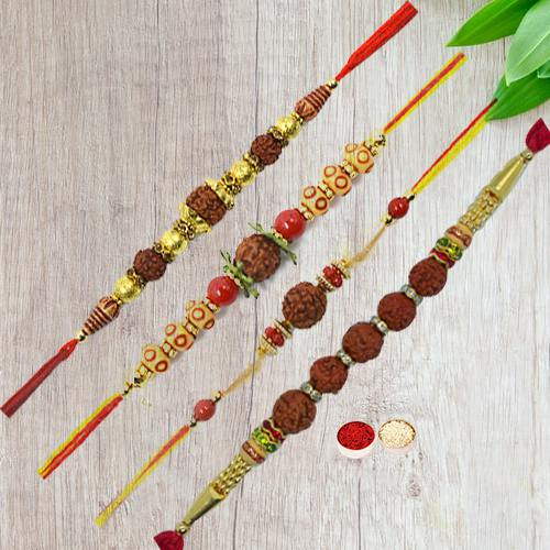 Fascinating Rudraksha Rakhi with Special Love