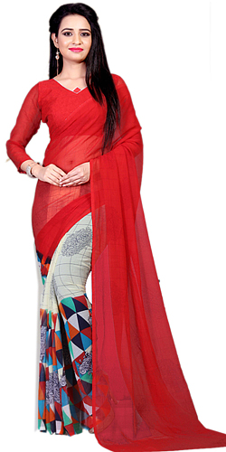 Superb Marble Chiffon Printed Saree in Red Color