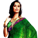 Adorning Green Faux Georgette Saree with Striped Weave